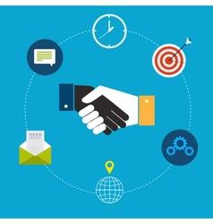 Flat design of handshake by businessmen vector
