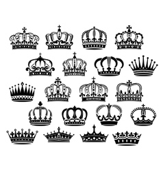 Royal medieval heraldic crowns set vector