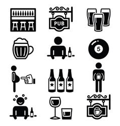 Pub drinking alcohol beer belly icons set vector