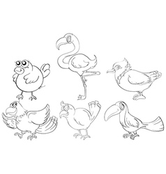 Doodle designs of two-legged creatures vector
