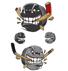 Angry evil hockey puck chomping a stick vector
