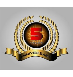 Celebrating 5 years anniversary golden laurel wr vector