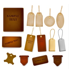 Set of leather and jeans labels and tags vector