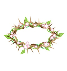 A crown of thorns with fresh leaves vector