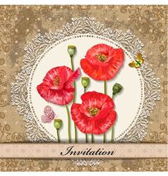 Invitation poppy vector
