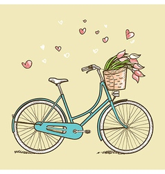 Vintage bicycle with flowers vector