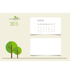 2015 calendar monthly calendar template for august vector