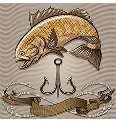 The fish and treble hook vector