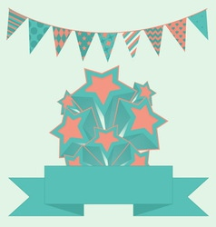 Party bunting background with stars and banner vector