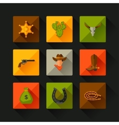 Wild west cowboy objects and design elements vector
