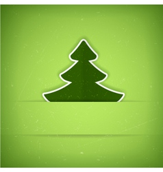 Green christmas tree card vector