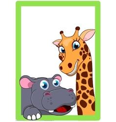 Giraffe and hippo cartoon on frame vector