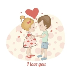 Couple in love in hearts boy and girl holding vector