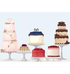 Fancy cakes vector