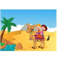 Happy kids riding camel vector