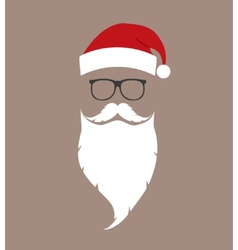 Hat beard and glasses santa vector
