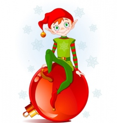 Elf sitting on christmas ball vector