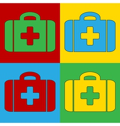 Pop art first aid icons vector