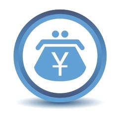 Blue yen purse icon vector