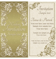 Baroque invitation gold and beige vector