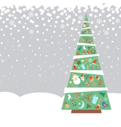 Christmas fir tree with decorations vector