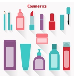 Flat cosmetic icons set vector