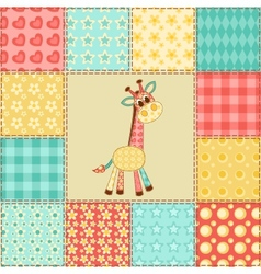 Giraffe patchwork pattern vector