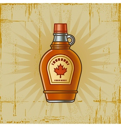 Retro maple syrup bottle vector