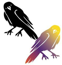 In style of black silhouette of crow vector