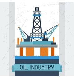 Oil platform in sea background vector