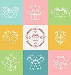 Linear gift icons and logos vector