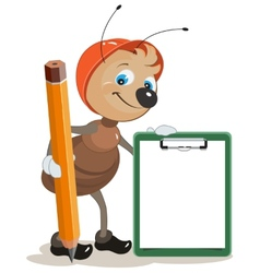 Ant builder holds clipboard and large pencil vector