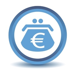 Blue euro purse icon vector
