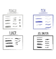 Set of hand drawn doodle sketchy grunge gel ink vector