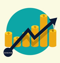 Financial success concept coin bar graph business vector