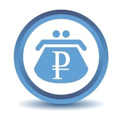 Blue rouble purse icon vector