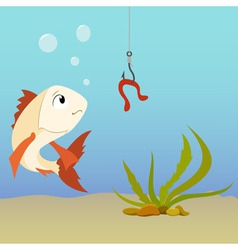 Cartoon fish underwater and earthworm on the hook vector