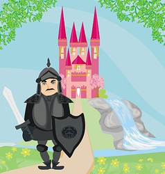 Knight guarding the entrance to the castle vector