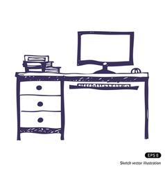 Computer desk vector