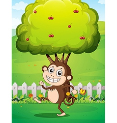 A smiling young monkey near the fence with a tree vector