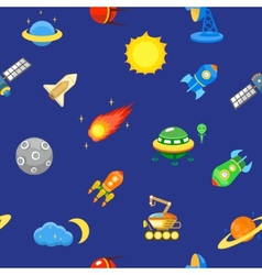 Seamless space pattern planets rockets and vector