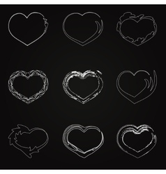 Abstract white unhappy heart icons vector