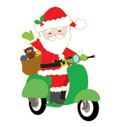 Santa on scooter vector