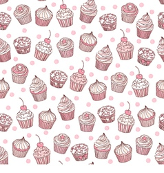 Seamless background cupcakes vector