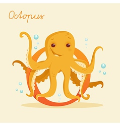 Animal alphabet with octopus vector