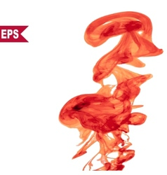 Abstract red cloud ink swirling in water vector