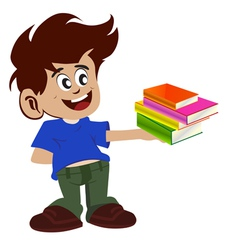 Kid and books vector