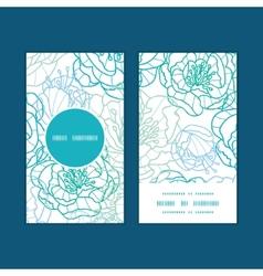 Blue line art flowers vertical round frame pattern vector