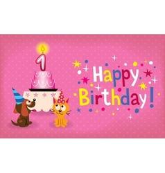 Happy first birthday card vector