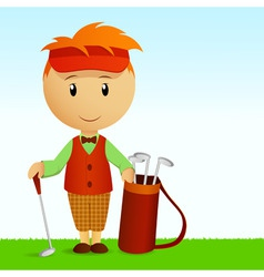 Cartoon young man with bag of golf clubs vector